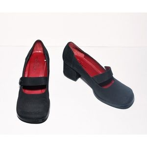 Chinese Laundry Black Block-Heel Fabric Mary Janes